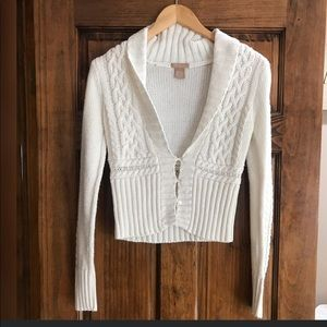 Sweaters - White Crop 3 Button Sweater
